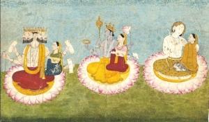 Brahma,_Vishnu_and_Shiva_seated_on_lotuses_with_their_consorts,_ca1770 (2)